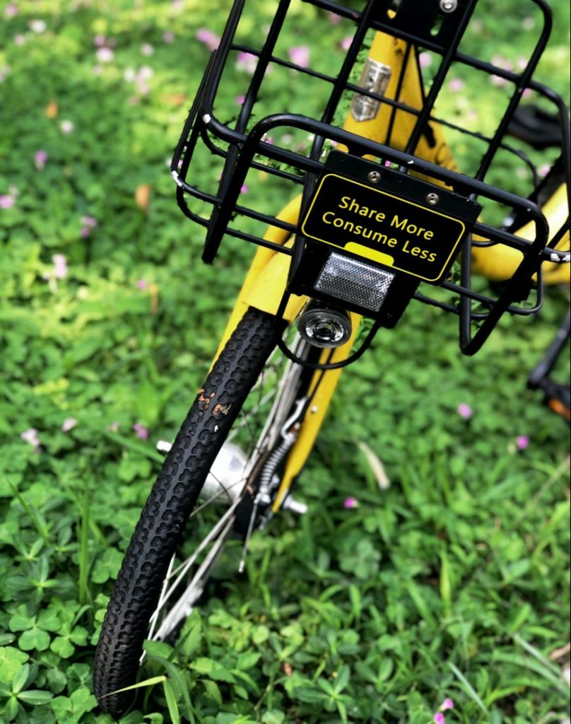Fahrrad mit Schild Share More Consume Less